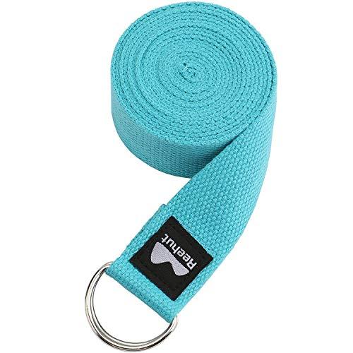 Reehut Yogagurt (1,8m, 2,4m, 3m) Baumwolle mit stabilem Verschluss aus 2 verstellbaren D-Ringen, Langer Yoga Gurt Band Zubehör Hilfsmittel für Dehnung Belt in verschiedenen Farben