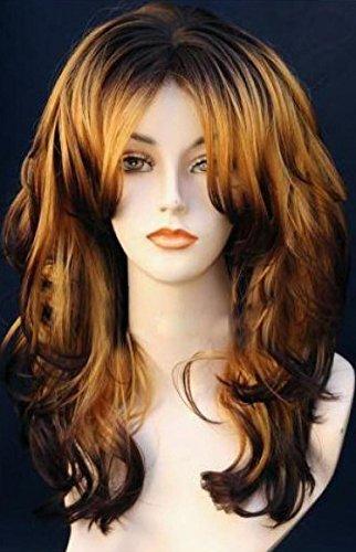 Perruque Femmes longue noir/brun ondulés