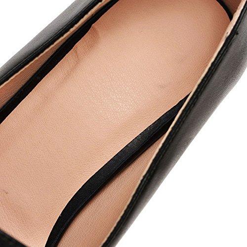 AgooLar Femme à Talon Correct Couleur Unie Matière Mélangee Pointu Chaussures Légeres Noir