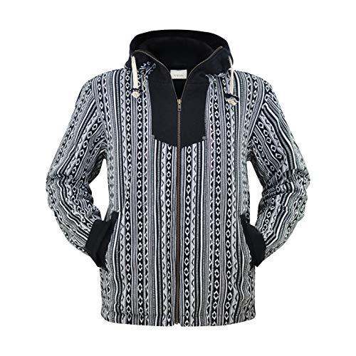 virblatt -Baja Jacke Poncho Herren Goa Hoodie Pullover Hippie Kleidung Ethno Mode - Amsterdam L