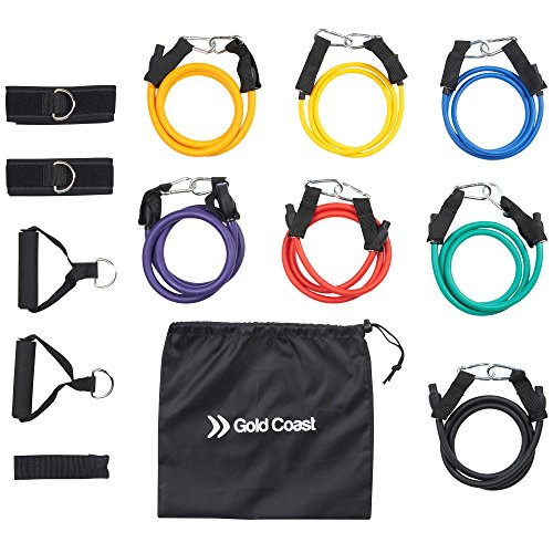 gold-coast-set-di-7-fasce-elastiche-resistenti-con-impugnature-con-cinghie-per-caviglie-ancoraggio-d
