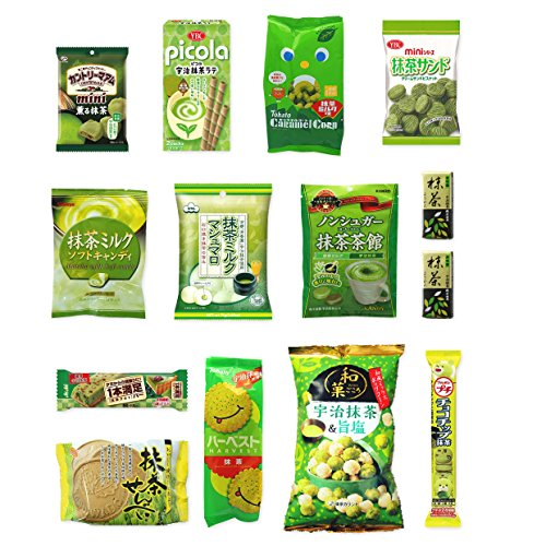 """Japanese """"Matcha flavor Set"""" 14 packs of snacks, sweets and candies"""