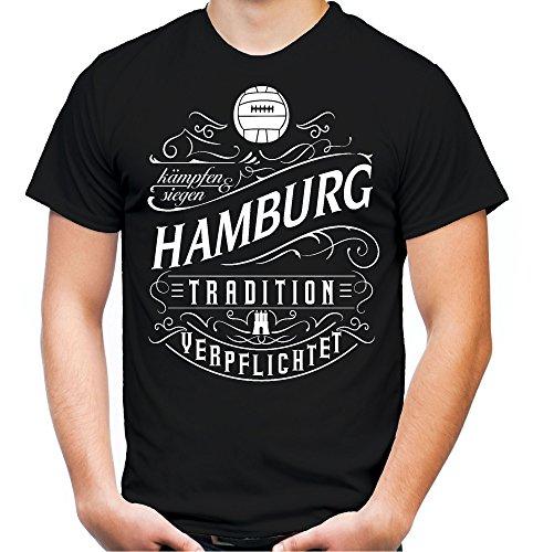 Mein Leben Hamburg Männer und Herren T-Shirt | Fussball Ultras Geschenk | M1 Front (XXXXL, Schwarz)