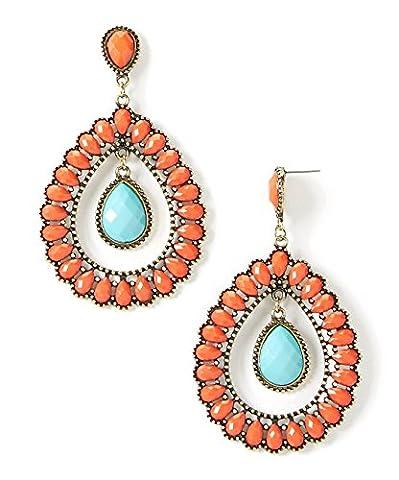 Lux Accessoires Corail turquoise Boucles d'oreilles Goutte avec