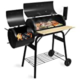 BBQ01 Grill Holzkohle Smoker Grillwagen Kamin American XL Barbecue inkl. Feuerkammer und Thermometer