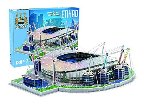 Giochi Preziosi 70037451 - Puzzle 3D Stadio Etihad Manchester City, 139 pz., adatto a 7+ anni