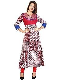 PURE COMFORT Women's And Girl's Long Party Wear Jaipuri Printed Kurtis And Kurtas