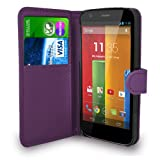 Motorola Moto G Dark Purple Leather Wallet Flip Case Cover Pouch + Free Screen Protector + Polishing Cloth