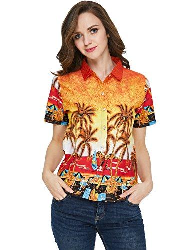 SSLR-Camisa-Mujer-Hawaiana-Manga-Corta-Blusa-Verano-Casual-Aloha-Tropical-Beach-Large-Naranja