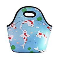 Coloranimal Lightweight Neoprene Lunch Pouches Kois Fish Design Food Container