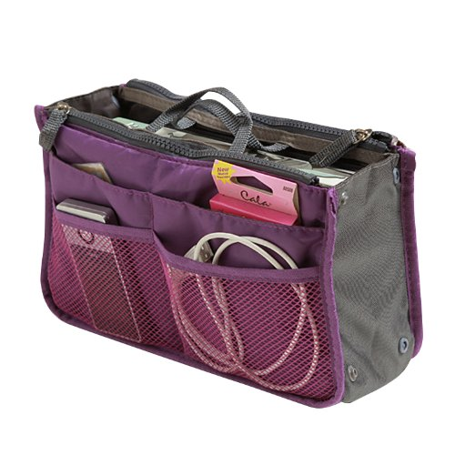 - 51DF1FgouWL - SAVFY Ladies Tidy Travel Insert Handbag Cosmetic Organiser Purse Large Liner Bag Pouch make up bag (Purple)
