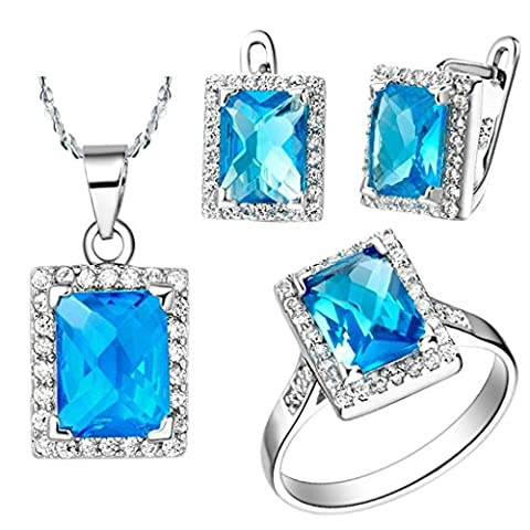 AnaZoz Fashion Jewelry Simple Personality White Gold Plated Women Jewelry Set (Necklace Earring Ring Set) Blue Sapphire Crystal UK Size P 1/2