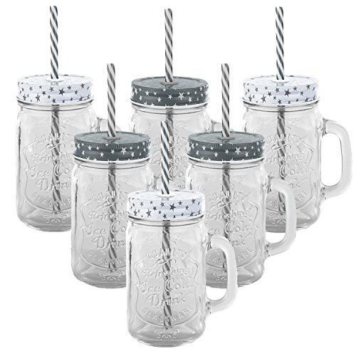 6er Set Trinkbecher Trinkgläser Sterne 2 Desgins mit Deckel und Strohhalm - Trinkglas - Cocktailglas - Glas - Gläser - Füllmenge 450 ml