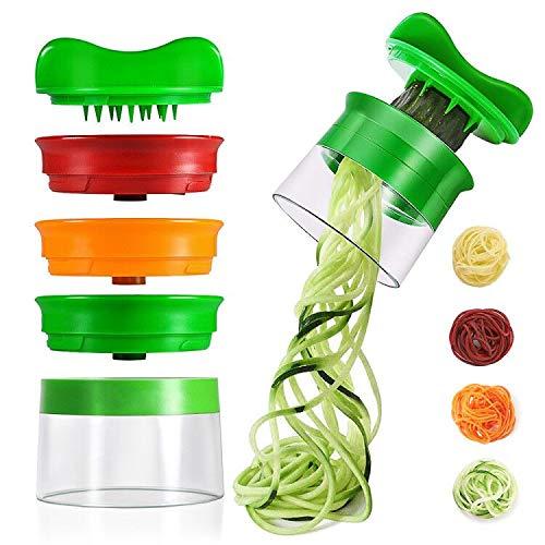 Spiralschneider , opamoo Gemüsehobel mit 3-Klingen Gemüse Spiralschneider Rissen Spiralschneider Hand für Gemüsespaghetti Karotte Gurke Kartoffel Kürbis Zucchini Zwiebel (Grün)