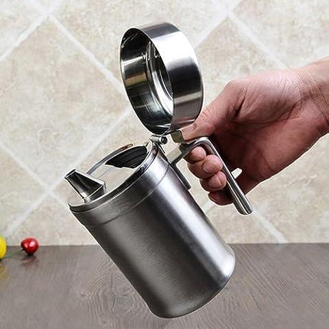 Acero inoxidable 304 Jarras de aceite tapa antipolvo fuga creativa botella de aceite botella de aceite comestible espeso depósito de aceite , unos 550ml