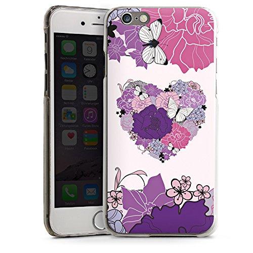 Apple iPhone 4 Housse Étui Silicone Coque Protection C½ur Papillon Fleurs love CasDur transparent