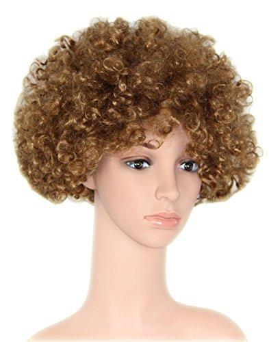 (Foxxeo 35114 | braune Afro Perücke 70er Jahre Lockenkopf für Party oder Fasching braun)