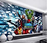 Papier peint comique Bar de la salle de jeu Internet Cafe Décoration murale Papier peint 3D Cartoon Cartoon Avengers Fresco,150x100cm