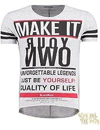Black Rock Herren Print T-Shirt Vintage Look Rundhals Motiv Shirt