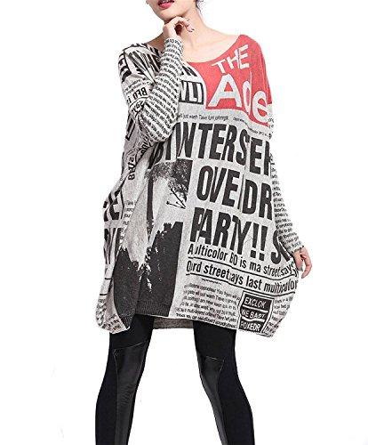 Minetom Femme Crew Col Pull Robe Tricote Chandail Lâche Manteau Longue Sweatshirt Blouse Chemisier Imprimé Journal Retro Style Gris