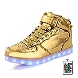FLARUT LED Schuhe High Top Light Up Sneakers USB Aufladung Blinkende Schuhe Mit Fernbedienung Für Frauen Männer Kinder Jungen Mädchen(Gold,39 EU)