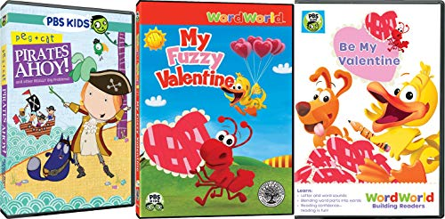 WordWorlds & Peg & Cat Triple Pack Bundle - Pirates Ahoy! and other REALLY Big Problems!, My Fuzzy Valentine & Be My Valentine 3-DVD Set -