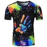 Challeng Herren T-Shirt,Große Förderung Herren Lässige Kurze Ärmel Print Slim Fit T-Shirts Tops Bluse,Bluse Herren Sommer (XL, Mehrfarbig)