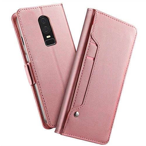 zukabmw OnePlus 6 Hülle, Prämie PU Leder Brieftasche Pouch Flip Hülle Hülle Anti-Scratch Defender HülleShell zum OnePlus 6 (Rose Gold)