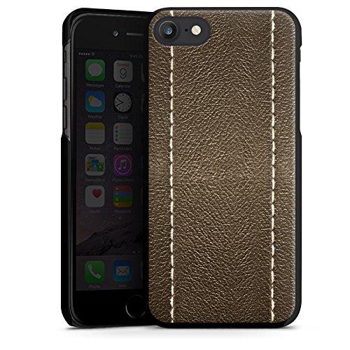 Apple iPhone X Silikon Hülle Case Schutzhülle Braunes Leder Look Lederstruktur Hard Case schwarz