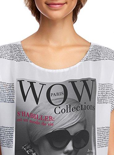 oodji Collection Damen Kombinierte Druckbluse Weiß (1029P)