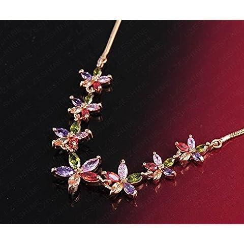 Unory (TM) Nueva Hermosa 18K plate¨® el colgante Neckalces marquesa corte colorido Cubic Zirconia del collar de diamante de la flor CNL0003-C