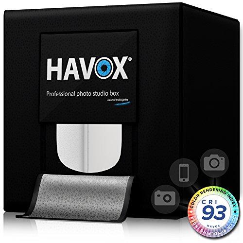 HAVOX - Fotostudio HPB-40XD - Maße 40x40x40cm - 4X Dimmbare LED-Beleuchtung Tageslicht 5500k - 26,000 Lumen - CRI 93 - Machen Sie Ihre...