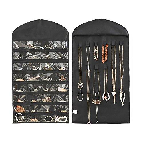 (Zum Aufhängen Schmuck Aufbewahrung Taschen 32Taschen Faltbare Travel Jewelry Box, 18Haken und Schlaufen doppelseitig Jewelry Taschen beidseitig, Vintage Make Up Schmuck Display steht Organizer platzsparend schwarz)