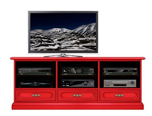 Lowboard in Rot, Möbel TV Breite 150 cm aus Massivholz in Farbe Rot, Lowboard Wohnzimmer Einrichtung klassisch-modern, TV-Möbel mit Rückwand. MONTIERT, Design aus Italien, B153xH60xT40 cm -
