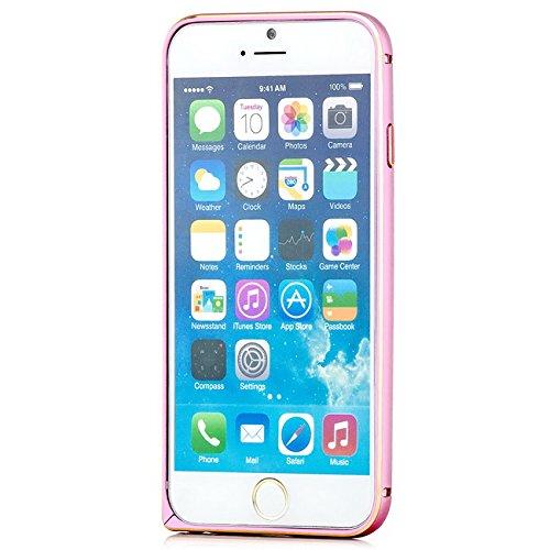Coque aluminium + 2x Verre Trempé Apple iPhone 7 [Saxonia] Métal Housse Bumper rigide Ultra-mince (Jack) Noir (Jet Black) Bordure dorée Rose
