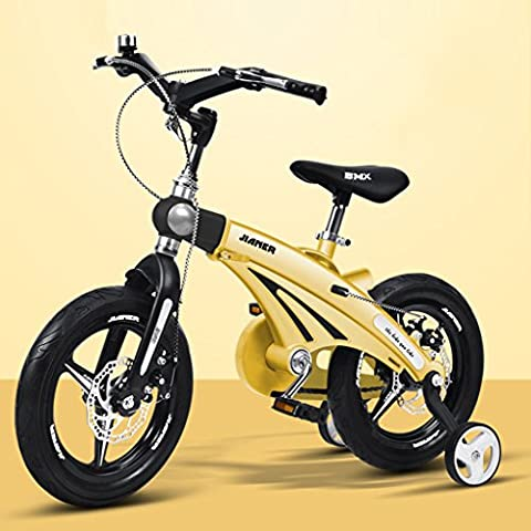 Convenient Children's bike, adjustable 3 years Baby stroller 14/16 inch Child bicycle Mountain bike Comfortable ( Color : Yellow , Size : 14 inch )
