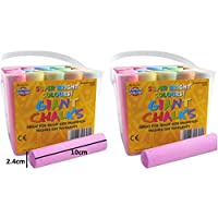 Coloured Chalk For Kids Pavement Giant Assorted Colours 2 x 20 Tubs Of Chalks Super Bright Large