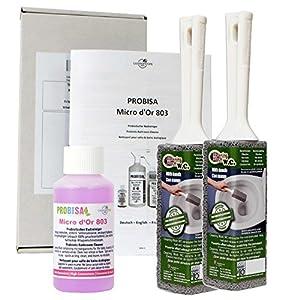 Kalkentferner und Urinsteinentferner extra stark für Bad, Dusche, Toilette und Waschbecken – Probisa Micro d'Or 803 und 2er Putzstein WC
