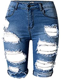 d182667263a9ab Tribear Damen Denim Stretch Jeans Hohe Taille Skinny Distressed Kurze Jeans