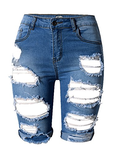Tribear Damen Denim Stretch Jeans Hohe Taille Skinny Distressed Kurze Jeans (Jeans Taille-washed)