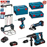 Kit Bosch RSL3618P2: GWS 18 V-LI   GBH 36 VF-LI Plus   GSB 18-2-LI (2 x batteries 18V 5,0Ah   2 x batteries 36V 4,0Ah    Charger GAL3680CV   2 x Carrying case system L-Boxx 136   Carrying case system L-Boxx 238   Caddy)