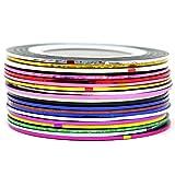 COM-FOUR Nagelzubehör Nageldesign Modellage Pediküre Maniküre Nail Art Stripes Tape Zierstreifen Packung mit 20 Rollen Striping Tape in verschiedenen Farben (Yarn Dekostreifen - 20 Stück)
