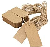 Zedtom 100 pieces Kraft Paper Gift Tags with Strings Hang Tags Jute Twine for Wedding Birthday Luggage Gifts Label Cards Art Crafts Scalloped Tag (Brown) …