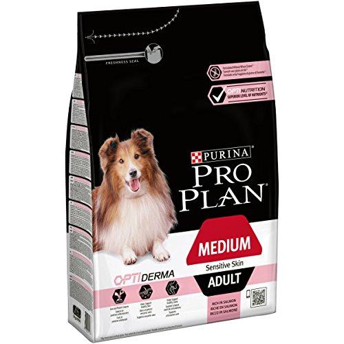 Pro Plan Dog Medium Adult Hund, Sensite Skin, Lachs und mit Reis, Trockenfutter, 1er Pack (1 x 3 kg) Beutel -