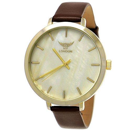 Elegante NY London Damen-Uhr Analog Quarz Leder Armband-Uhr Klassisches Design Braun Gold mit Perlmutt Ziffernblatt