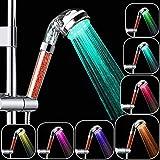 HJ Stay Real Alcachofa de Ducha LED con Iones Filtro, Cambiando LED 7 Colores Automáticamente, Cabezal de Ducha Ionica de Mano, 200% Alta Presión 30% Ahorro de Agua para Baños, No Necesita Pilas