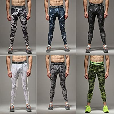 COOLOMG Herren Funktionshose Core Compression Hose Tights Lang Base Layer Sports S M L XL