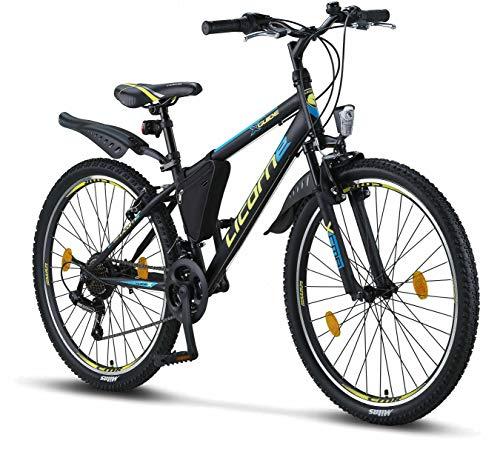 Licorne Bike Guide (Schwarz/Blau/Lime), 26 Zoll Mountainbike, geignet ab 150 cm, Shimano 21 Gang-Schaltung, Gabelfederung, Jungen-Fahrrad & Herren-Fahrrad, Rahmentasche