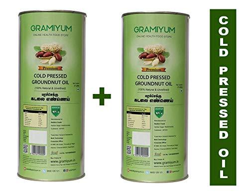 Gramiyum Cold Pressed / Wood Pressed Groundnut Oil 1 Litre X 2 Packs