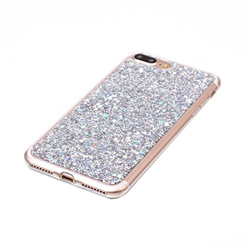 BING Für iPhone 7 Plus Glitzer Powder Soft TPU Schutzhülle BING ( Color : Silver ) Silver